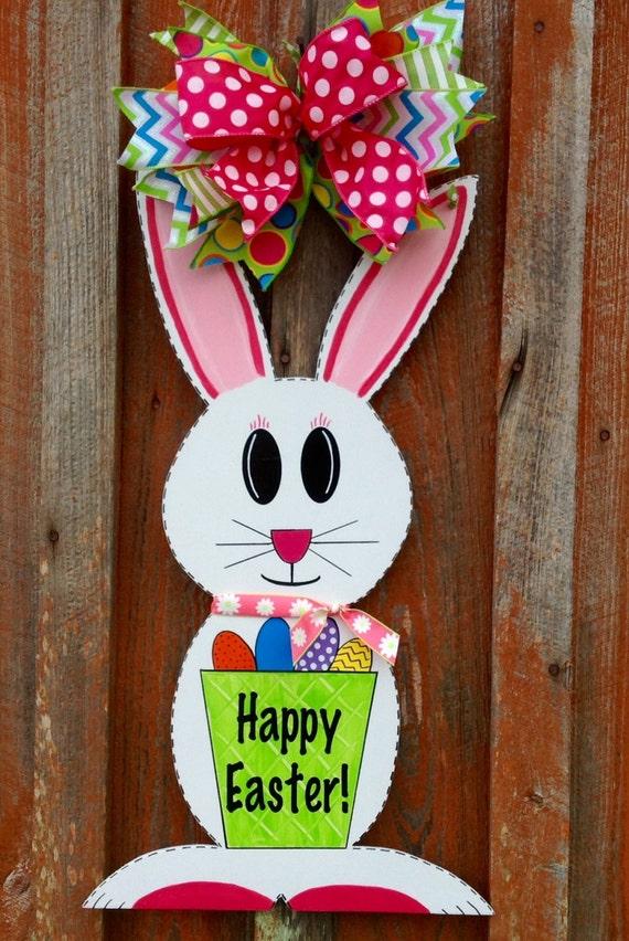 Easter bunny door hanger spring decor front door hanger easter for Decoration hangers