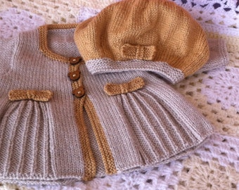 """UK SELLER Hand Knitted Baby Girl Pleats/Bows Cardigan/Jacket & matching Beret.  0-6months 16""""chest.  Vintage style for smart occasions."""