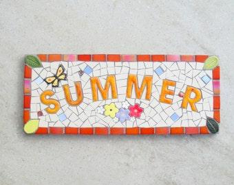 Mosaic Memorial Plaque, Garden sign, Memorial Garden, plaque, Personalised plaque,custom,bespoke,ooak, Summer, Personalized, made to order,