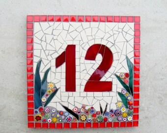 Mosaic house Number, Street sign, Address plaque, door number, ceramic number, glass number, 2 digit house number,red number,