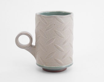 Hand built diamond plate coffee mug. Red stoneware mug with light grey and turquoise glazes. coffee cup. Tea cup. ceramic. pottery