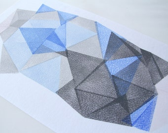 GEMSTONE XXXII. original linocut monotype print by Paulina R. Varregn, one of the kind wall decor