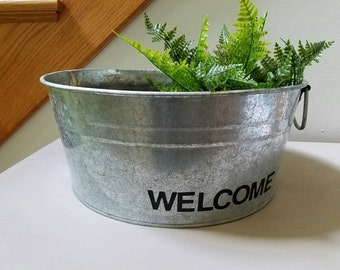 Galvanized Metal Bucket Tub  Planter Welcome Bucket farmhouse