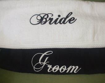 Made to order Bride and Groom, His and Hers Hand Towels
