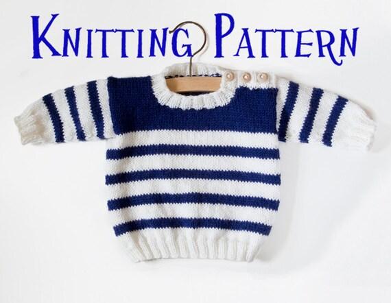Pdf Knitting Pattern Set Sail Pullover Baby Child Sweater