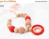 SUPER SALE Teething necklace with wooden ring pendant in pastel peach and coral. Nursing/breasfeeding mom accessory