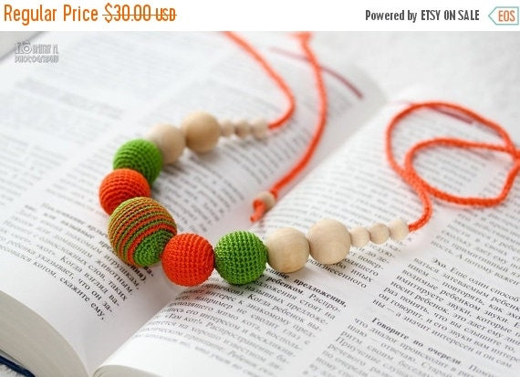 SUPER SALE Summer Fashion Teething Necklace - Nursing mom necklace - crochet sling necklace - orange green