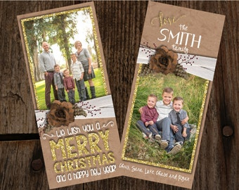Kraft paper christmas cards, photo christmas cards, glitter photo christmas cards, shabby chic christmas cards
