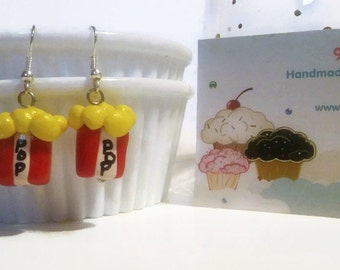 Popcorn Earrings, Polymer Clay Charms, Popcorn jewelry, Popcorn accessories, Food Miniatures, Polymer Clay, Easter gift ideas, fake food