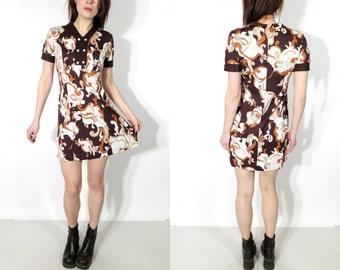 Vintage 60s Brown Abstract Crimplene Mini Dress