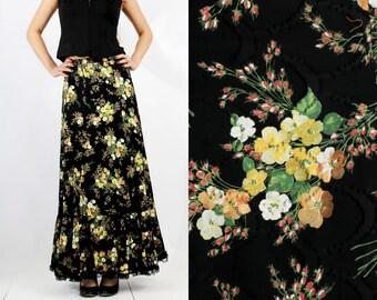 Vintage Black Floral Maxi Long Gypsy Boho Skirt