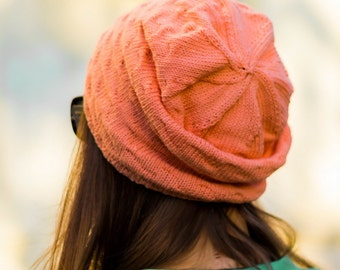 Slouch beanie in peach Orange hand knit hat Slouchy hat Knitted hats for women Surfer apparel Gift for her