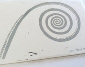 linocut - FOSSIL - 5x7 / printmaking / block print / stone gray / spiral art / earth, nature art