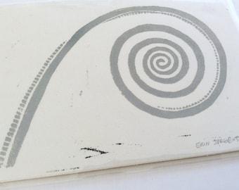 linocut - FOSSIL - 5x7 / printmaking / block print / stone gray / spiral art / earth, nature art