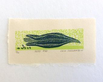 linocut - SEED POD - 4x6 / printmaking / block print / nature art / blue and green