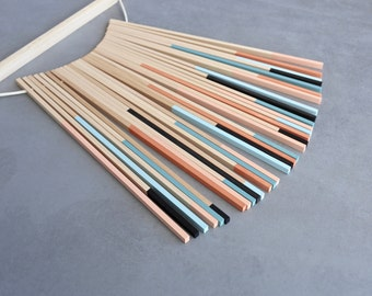 Wall Hanging Wood Art Bauhaus Textile Pattern II
