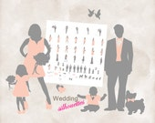 Silhouette wedding bridal party 60 Silhouettes clipart INSTANT DOWNLOAD grey and blush for DIY invitations and programs