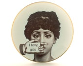 Porcelain Plate Altered Face Lina Cavalieri I Love You Hand Woman Vintage Dishware Housewarming Wedding Gift