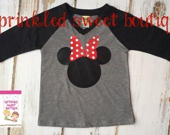 Minnie Mouse Big Bow Ears Inspired Raglan Baseball Shirt Custom Women Girls Shirt Family Perfect for a Disney World Trip