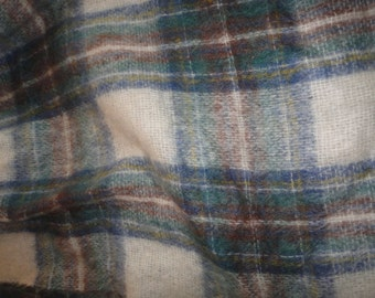 Vintage Warm Colored Shawl by Highland Home Industries Woven in Scotland Mohair and Wool Shawl Mid Century Plaid Cap Blue Brown Shawl