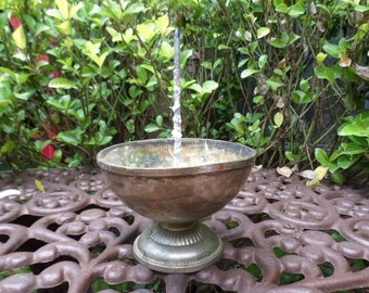 Vintage Salvaged Silverplate Rose Bowl/Floral Arrangement Dish with Spindle