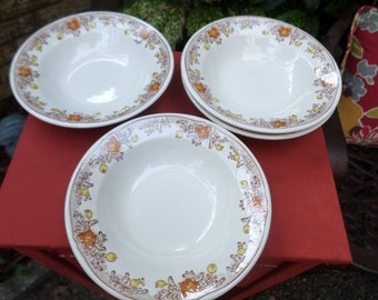 Four-Vintage Royal China-USA-Yellow/Orange/Brown-Cereal Bowls/Dishes