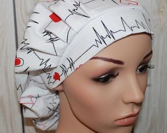 Heartbeats,Bouffant Women's Scrub Hat.OR Nurses Scrub Hat, Vet Surgery Tech