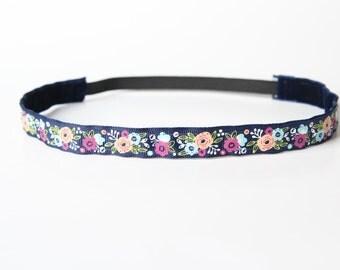 "Thin Modern Floral Print No Slip Headband 3/4"", Gift for Her, Fitness Apparel, Running Headband, Workout Headband, Gift for Runners,Under 10"