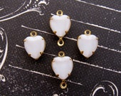 Vintage White Moonstone Glass Heart Stones in Brass Drop or Connector Settings 9x8mm- 4