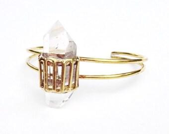Quartz Crystal Cage Cuff Bracelet