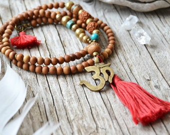 Om yoga necklace, tassel jewelry, spiritual yoga jewelry, ohm necklace, boho hippie jewelry, gift for her