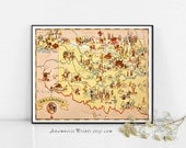 OKLAHOMA MAP PRINT - vintage picture map to frame - wimsical map art - illustrated by Ruth Taylor White - vintage home and office decor