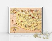 L'OKLAHOMA carte imprimer - image vintage carte à encadrer - projets carte vintage art - illustré par Ruth Taylor White - maison et bureau