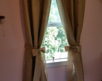 "Burlap black out lined curtains Each panel measures  38"" WX72""H. Comes with 2 panels."