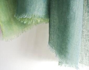 Natural Indigo and Indigo plus Enjyu dyed double-faced Linen scarf