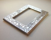 Sterling silver photo frame Solid silver picture frame Art Nouveau design Tulips and leaves pattern Silver frame Hallmarked London 1987