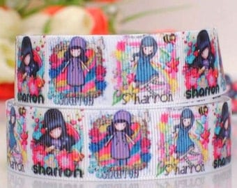 7/8-22mm Girl Grosgrain Ribbon-by yard Craft Supplies-Scrapbooking-Hairbow-Girl-Baby Headband-Character