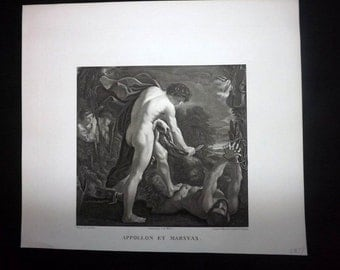 Massard after Guercino C1815 Antique Print. Appollon et Marsyas