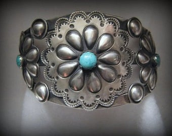 Reduced -- Vintage NAVAJO Signed Robert Johnson TURQUOISE Floral CUFF Bracelet -- Satin Finish, Turquoise Accents