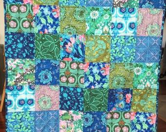 Modern patchwork quilt blanket, girl baby toddler,Blue floral, vibrant