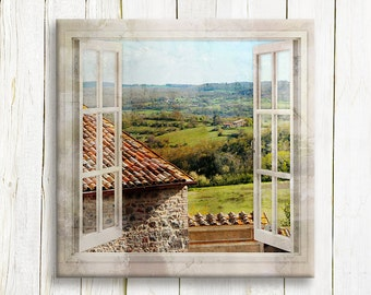 Window view of a Tuscany Roof top and Lanscape art printed on canvas - Travel photography art - Housewarming gift - Home decor
