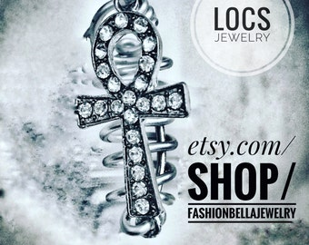 Silver wire locs jewelry with an ankh pendant