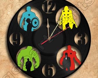 Wall Clock Avengers Vinyl Record Clock Upcycled Gift Idea
