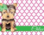 Personalized Dog Food Mat, Custom Pet Mat, Laminated Dog Placemat, Reversible Yorkie Pet Mat, Choose Colors