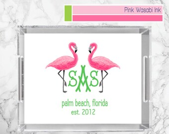Flamingo Tray Monogrammed Lucite Serving Tray Personalized Acrylic Tray Custom Serving Tray
