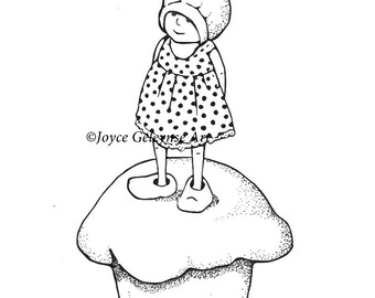 Cupcake Digital Stamp, Hand Drawn,  Embroidery Design: Gnome Girl on Cupcake, Freehand Drawing, jpg and gif files, Instant Download