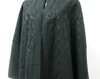 1900s Victorian Mourning Cape with Hair Embroidery