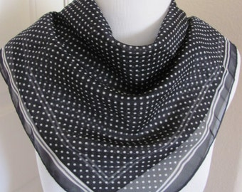 "Scarf Black White Dot Soft Poly Fashion Scarf 22"" Square - Affordable Scarves!!!"