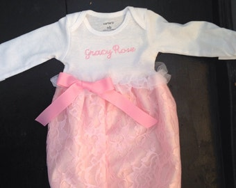Newborn Baby Girl Coming Home Outfit, Going Home Outfit, Layette, Take home outfit,Personalize,  Newborn Dress, Newborn , Baby Shower Gift,