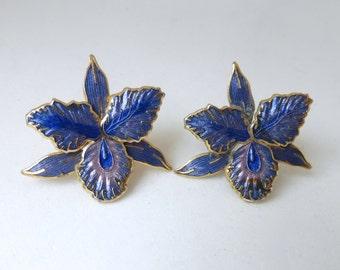 Vintage 1970's Metallic Purple Iris Flower Post Earrings